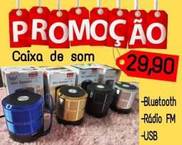 Caixa de som Bluetooth mini Rádio FM, pen drive, cartão (Garantia)