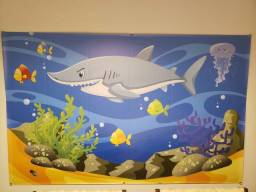 Kit pós festa infantil painel display fundo do mar tubarão