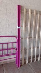Cama solteiro rosa tubular feminina soffisticatto