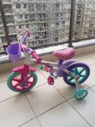 Título do anúncio: Bicicleta Infantil Caloi Minnie Aro 12 Roda Lateral Para-lamas - Rosa<br><br>