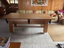 Mesa Madeira de Bilhar e Jantar | Mesa Cerejeira | Tecido Vermelho | Modelo: NAJM2966
