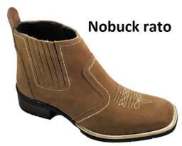 Bota country em couro legitimo botina texana bico quadrado marca campolina