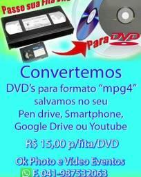 Fita de Vídeo VHS para DVD ou Pendrive + Nuvem