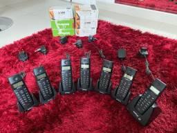 Telefone sem fio intelbrae com 7 ramais, com baterias e funcionando