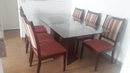 Mesa 6 caldeiras madeira imbuia  e vidro