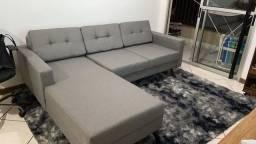 Sofá cinza 3 lugares living com chaise