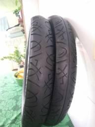 2 pneus seminovos dianteiro e traseiro 90/90-18 80/100-18