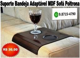 Bandeja suporte Apoio de Copos Para Braço de Sofá em MDF