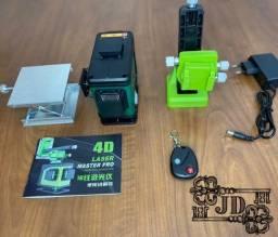 Nivel a laser 4D com controle remoto - gratis suporte, base, bateria e bolsa