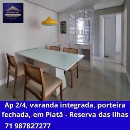 Apartamento 2 quartos, varanda estendida, enregue mobiliado e decorado, em Piatã