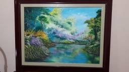Linda pintura a óleo paisagem riacho na floresta.