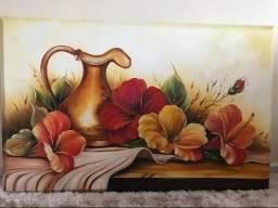 Quadro pintado a óleo: jarro com flores.