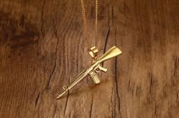 Colar banhado a Ouro 18K (aço inox)AK-47 cordão corrente joia homem