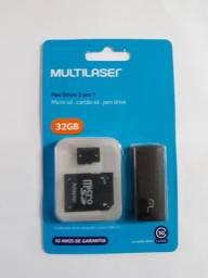 Cartão de memória 32gb 3 em 1 Multilaser - NOVO