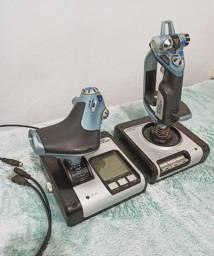Controle joystick Logitech X52 - Duas peças soltas