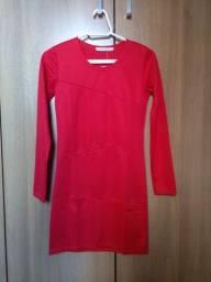 Vestido curto manga longa vermelho