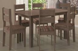 Conjunto de mesa c/6 cadeiras Verona Indekes Nogal Turin<br><br>