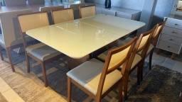 Título do anúncio: Mesa de jantar Goias retangular de 6 lugares nova completa