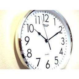 Relógio Parede Studio 25 cm Branco Cromado Haller<br><br>Silencioso