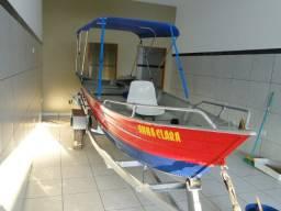 Lancha/Barco de Alumínio 5 MT com Carreta todo equipado Estado de Zero