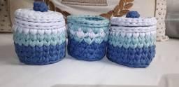 Kit higiene artesanal de fio de malha 3 peças