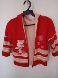 Casaco de lã infantil vermelho até 6 anos