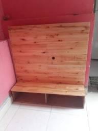 Painel para tv + 2 Bancos de madeira (Conjunto)