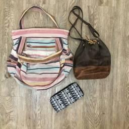 Mochila, bolsa e carteira -juntos ou separados