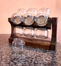 Porta Condimentos Com 12 Potes de Vidros Redondos de 120 ml