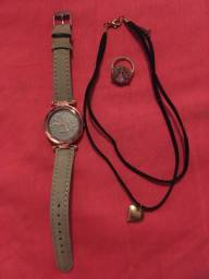 Kit relógio + anel + colar