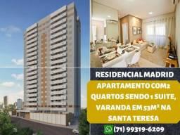 Madrid, 2 quartos, suíte, varanda em 53m² e 1 vaga de garagem na Santa Teresa