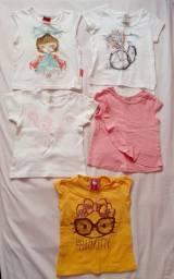 Camisetas bebê menina manga curta, tamanho 1