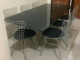 Mesa De Luxo De Vidro Fumê Com 8 Cadeiras