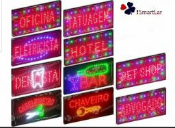 Letreiro Luminoso Painel Placa Pisca Led Aberto Bivolt Comércio Loja Distribuidora