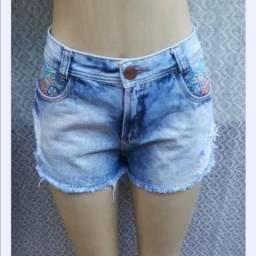 Short jeans moça flor tam 42