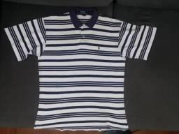 Camiseta polo branca com listras azuis escuras Ralph Lauren