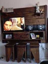 Painel para tv rústico em madeira de demolição