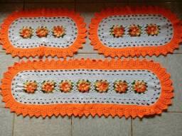 Jogo tapetes croche para cozinha 3 peças!