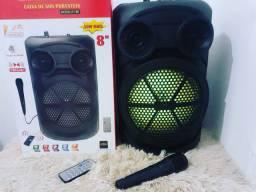 Caixa de som C/controle e Microfone