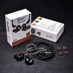 Fone de ouvido Qkz VK1 black s/mic original Lacrado + Case