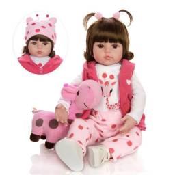 Boneca Bebê Reborn girafinha rosa Pronta Entrega