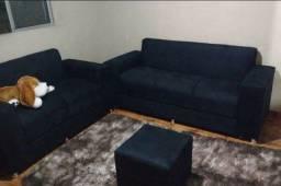 Sofa cristal 2x3 lugares com puf