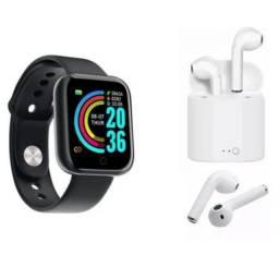 Smartwatch D20 Relógio Inteligente Fitness + fone de ouvido sem fio