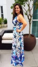 Vestido de festa longo estampa floral frente única