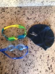 Vendo dois óculos de natação e toca