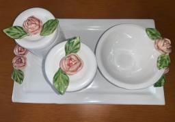 Kit Higiênico Ceramica Flores