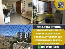 Solar da Pituba, 2 quartos, suíte, nascente, varanda e 2 vagas na cobertas
