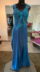 Vestido festa longo azul claro