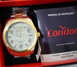 Relógio condor masculino prata com Dourado