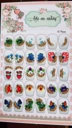 Cartelão com 15 pares de Adesivos Decorados
